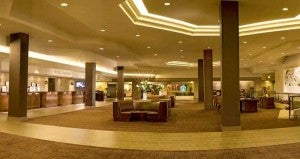 Lobby area at the Hilton Anaheim Hotel.