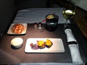 Shrimp escabeche with Peruvian purple potato salad