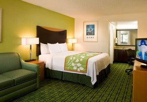 King guest room at the Anaheim Fairfield Inn by Marriott.