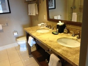 Spacious bathroom with double vanity.