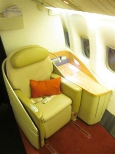 One of Air France's international First Class seats.