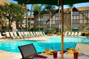 Pool area at the Sheraton Anaheim Hotel.