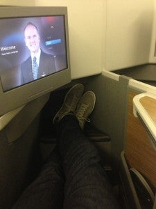 Entertainment screens in business class are