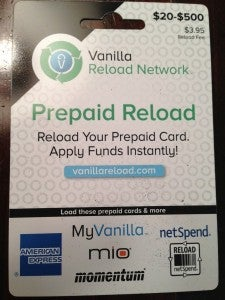 Vanilla Reload cards can be used to fund prepaid cards like the Amex Bluebird.
