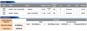 Newark-Madrid for 68,000 miles in Business Class on United.