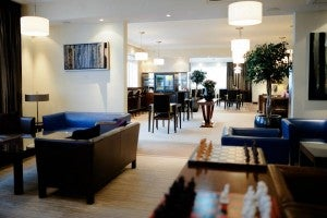 Expansive club lounge at the InterContinental Warsaw.