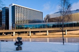 The Radisson Blu Waterfront Hotel features 414 guest rooms and suites.