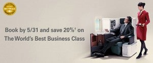 Save 20% of Cathay Pacific Business Class.