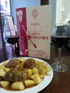 Some delicious Carillera and Red Wine at Bodega Gongora.