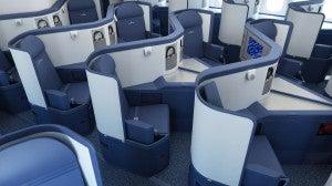 Lie flat seats in Deltas new Business Elite cabin.