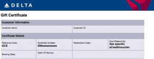 Delta's new eGift certificates might be reimbursed for Amex Platinum cardholders.