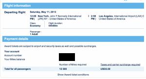 Delta one-way JFK-LAX flight award for 12,500 Air France Flying Blue Miles.