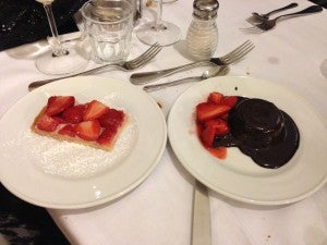 Panna cotta topped with fresh strawberries and