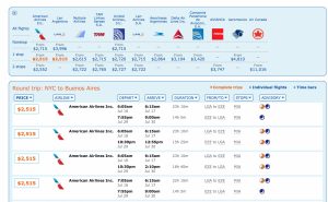 Reasonable business class on AA and United to Buenos Aires