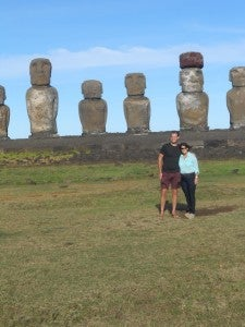 Checking out the moai with mom - they even make me feel short!