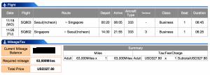 Singapore Airlines Seoul-Singapore Business Award