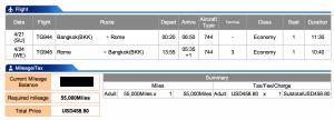 Thai Airways Bangkok to Rome in Economy