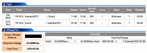 Istanbul to Zurich in Business on Turkish