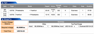 US Airways Business Philadelphia to Frankfurt