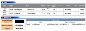 US Airways Economy Philadelphia to Frankfurt