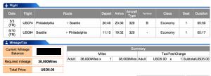 US Airways Economy Philadelphia to Seattle