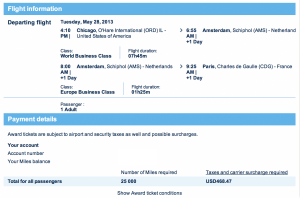 Air France Promo Award- Chicago to Paris Business Class for 25,000 miles one-way- only 19,000 Amex points with the current 35% bonus.