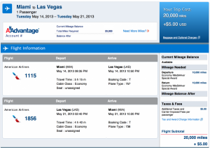 Discounted Miami-Las Vegas award for 20,000 miles.