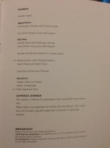The dinner menu.
