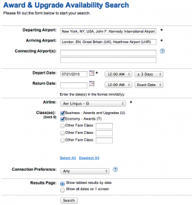 Search for Aer Lingus awards seats in business and economy using ExpertFlyer.com
