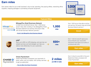 Earn bonus United miles through their Small Business Network.