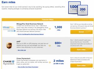 Earn bonus United miles through their Small Business Network.