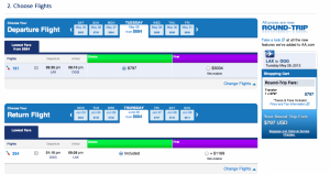 The same flights in economy from LAX - OGG would cost $797.