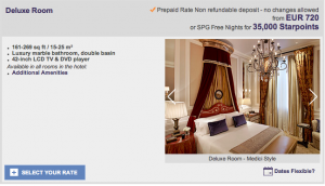 Deluxe rooms go for 720 EUR or 35,000 Starpoints.