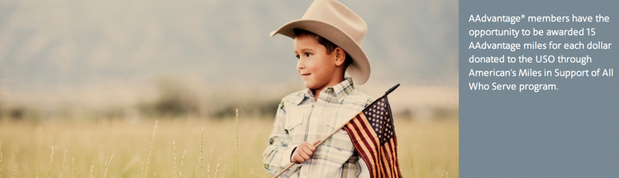 American is offering AAdvantage members the opportunity to earn miles for donating to the USO.