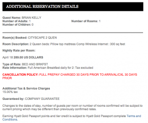 The first confirmation I received was booked incorrectly as a paid rate of $289.