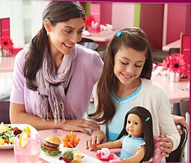 Have your doll sit with you during your meal in the cafe.