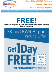 Get one free day of parking at EWR & JFK.