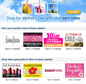 United is offering Mother's Day bonuses on lots of purchases this year.