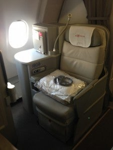 Business class is in a 1-2-1 alignment so seats on the side have much more privacy.