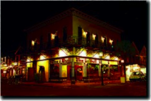 The Bull (downstairs) and Whistle (upstairs) Bar along Duval Street comes alive at night.