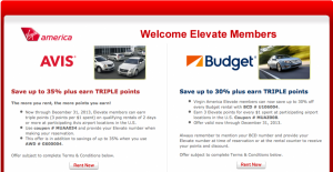 Earn Virgin America Elevate points with Budget and Avis.