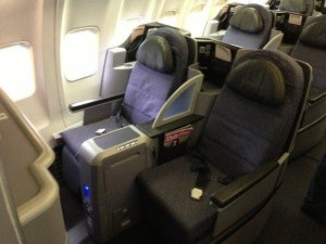 BusinessFirst seats on United recline 180 degrees.