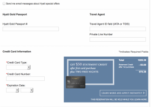Hyatt Visa offer with $50 statement credit which usually shows on hyatt.com when making a reservation (you don't have to actually make the reservation to get the credit card offer)