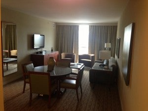 My one bedroom suite had a living room area, kitchenette, king bed, and bath.