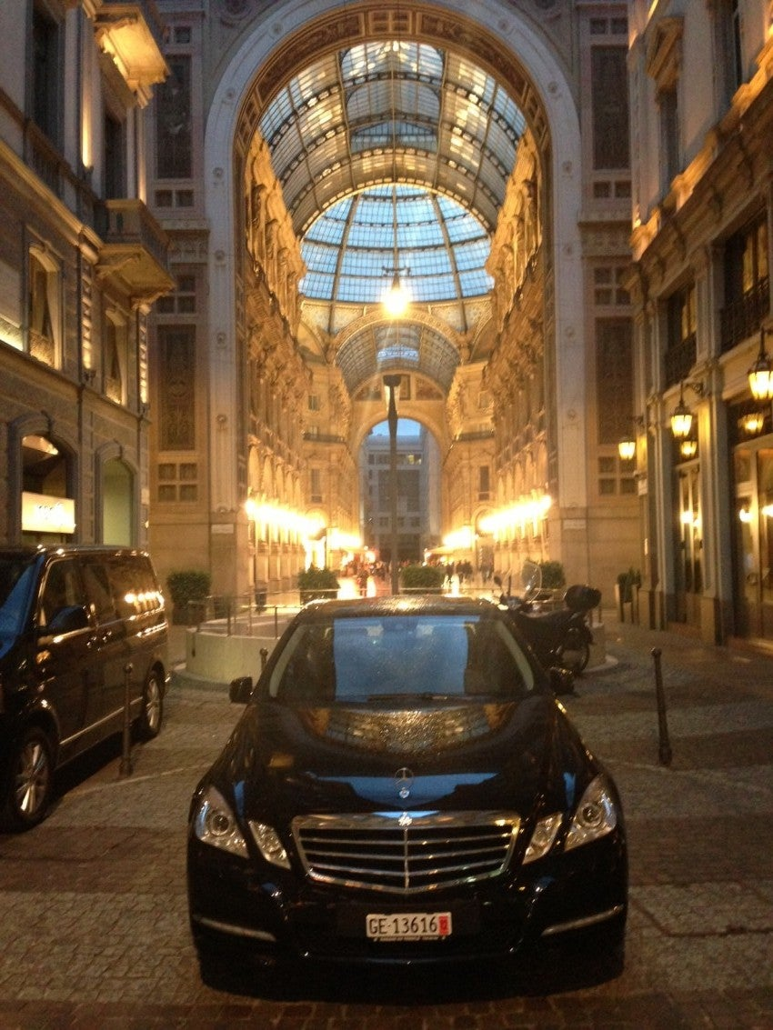 In front of the Park Hyatt Milan.