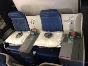 Our seats were in the middle section of the very last row of the cabin.
