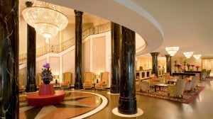 Lobby area at the Sheraton Warsaw.