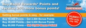 Earn a 25% bonus on purchased Southwest points.