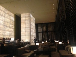 The backlit onyx bar at the Armani Lounge.