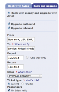 Enter the dates and the class of service that you wish to purchase and upgrade from (not to)